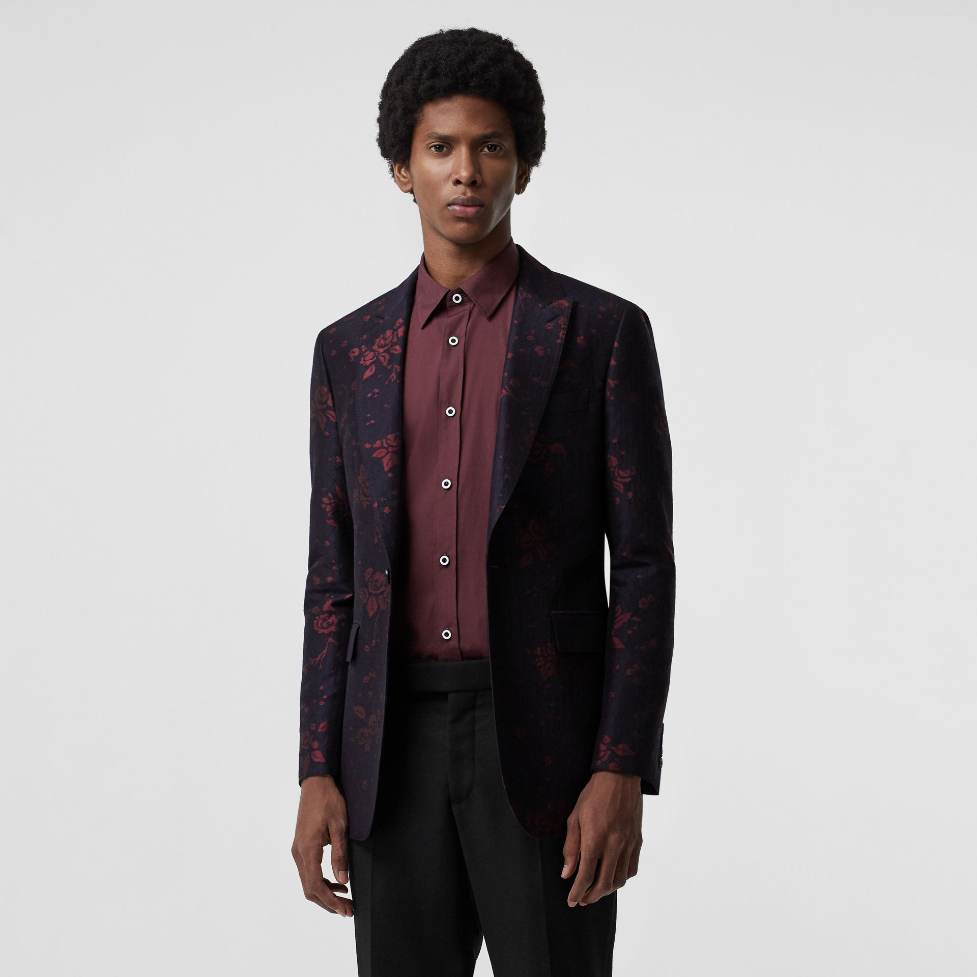 Slim Fit Silk Wool Matelassé Evening Jacket in Midnight Blue - Men | Burberry Australia - gallery image 4
