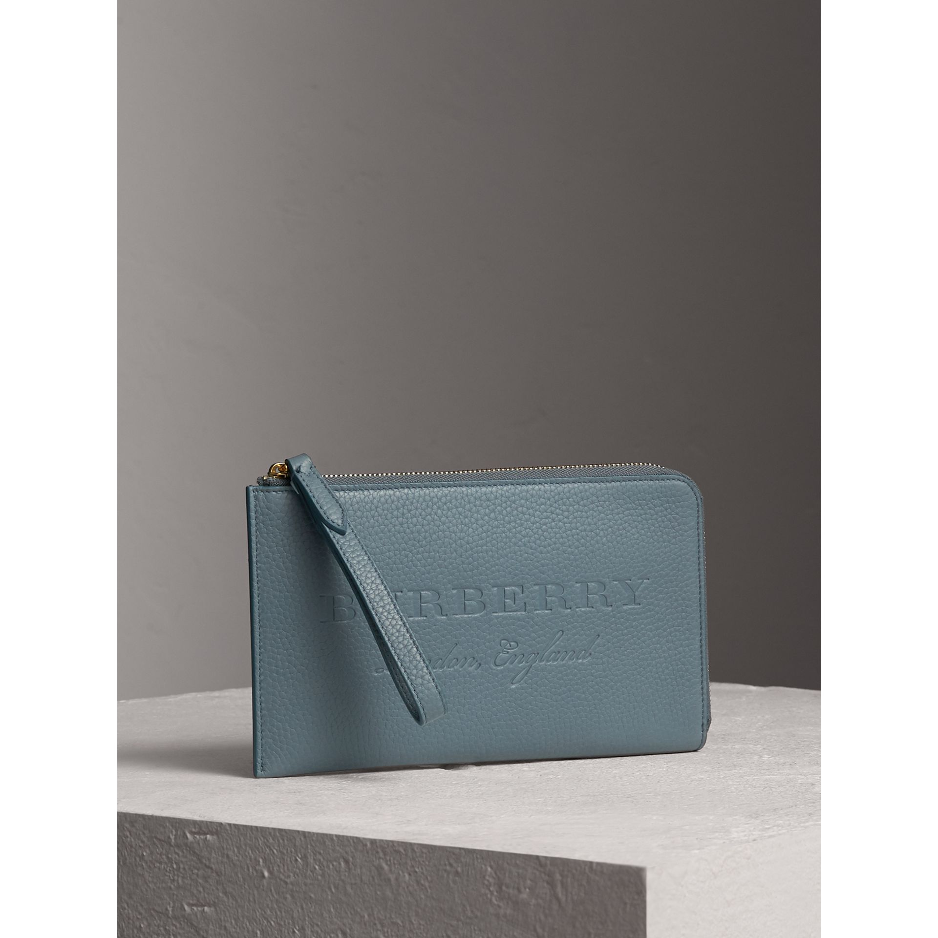 Embossed Leather Travel Wallet in Dusty Teal Blue | Burberry - gallery image 4