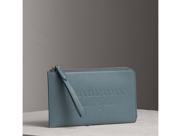 Embossed Leather Travel Wallet in Dusty Teal Blue | Burberry - cell image 4