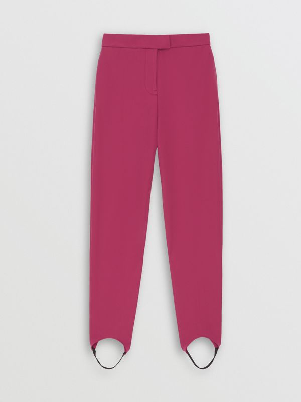Long Cotton Blend Tailored Jodhpurs in Plum Pink - Women | Burberry - cell image 3