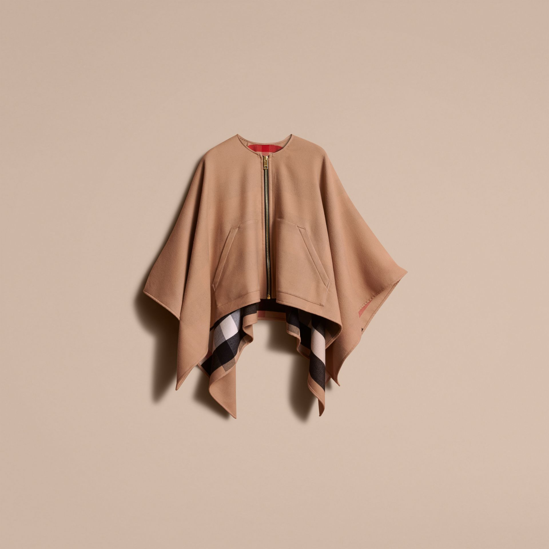 Merino Wool Poncho in Camel - Women | Burberry - gallery image 4