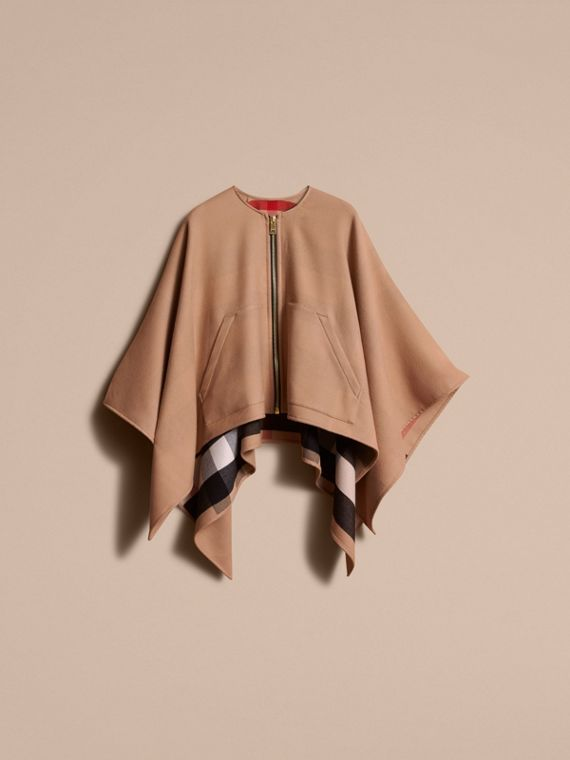 Merino Wool Poncho in Camel - Women | Burberry - cell image 3