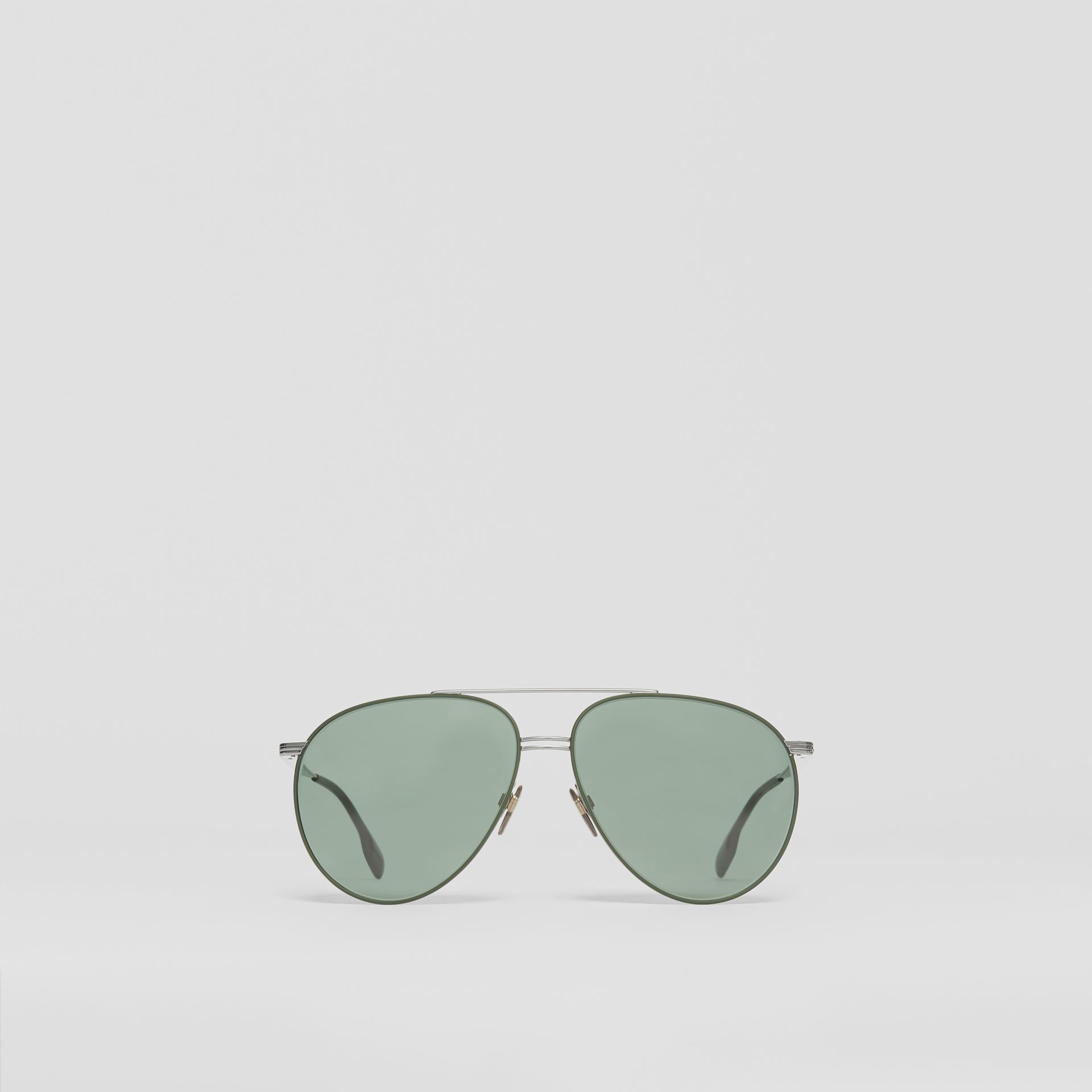 Top Bar Detail Pilot Sunglasses in Gunmetal/dark Green - Men | Burberry United States - gallery image 0