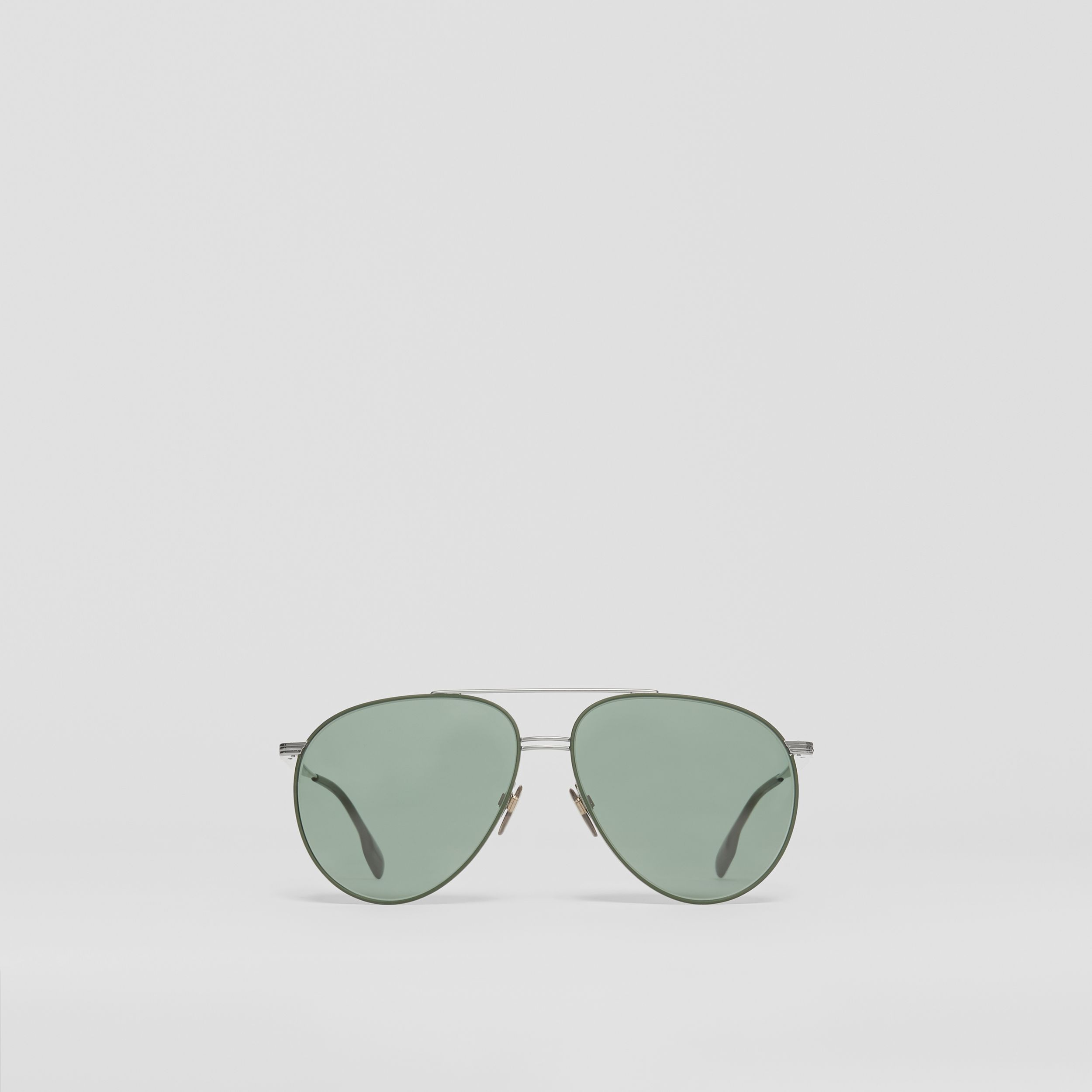 Top Bar Detail Pilot Sunglasses in Gunmetal/dark Green - Men | Burberry - 1