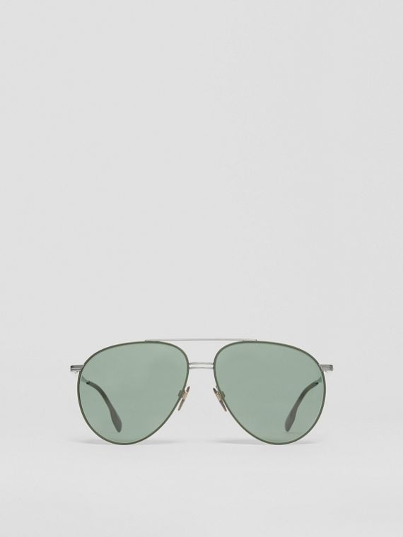 Top Bar Detail Pilot Sunglasses in Gunmetal/dark Green