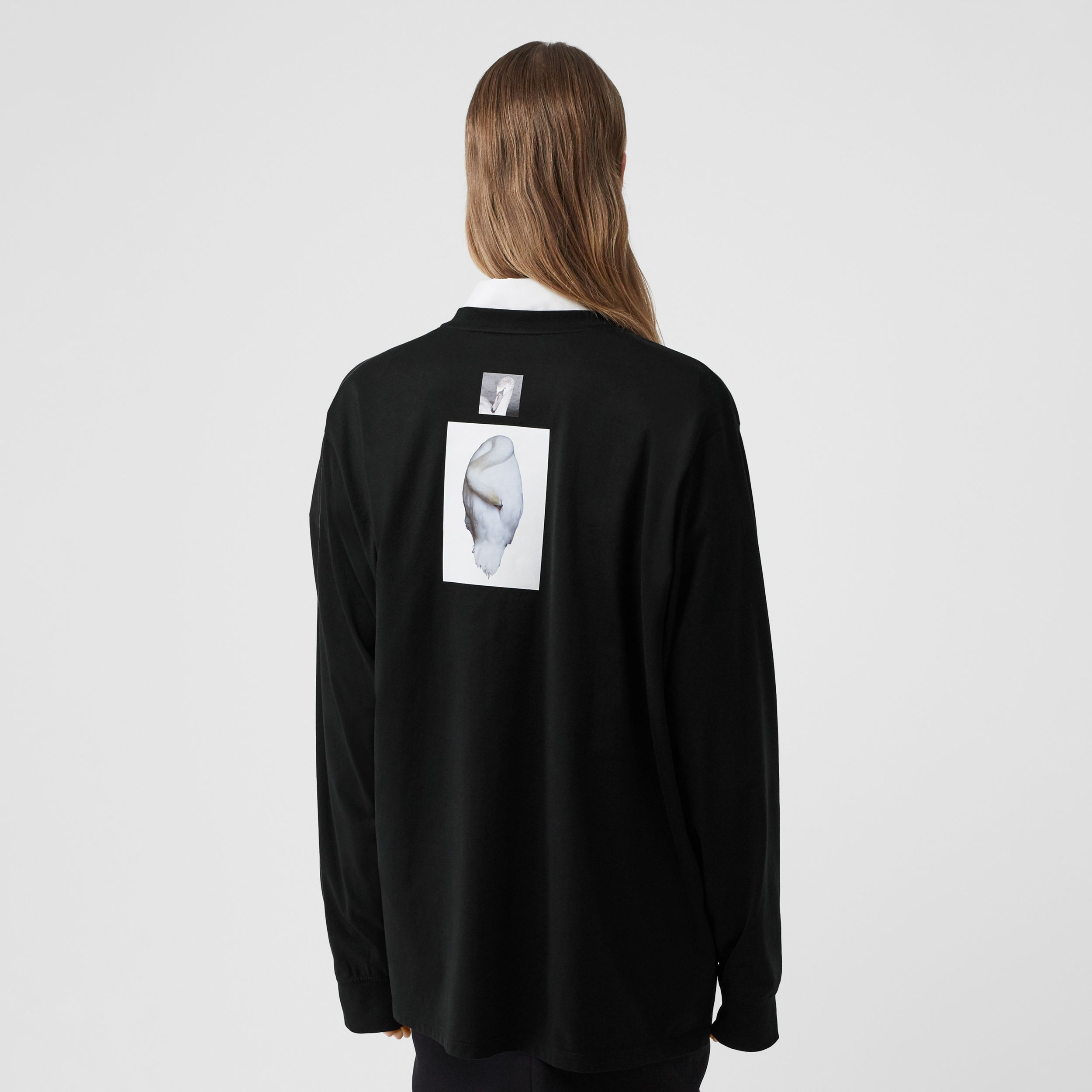 Cut-out Panel Swan Print Cotton Oversized Top in Black - Women | Burberry Australia - 3