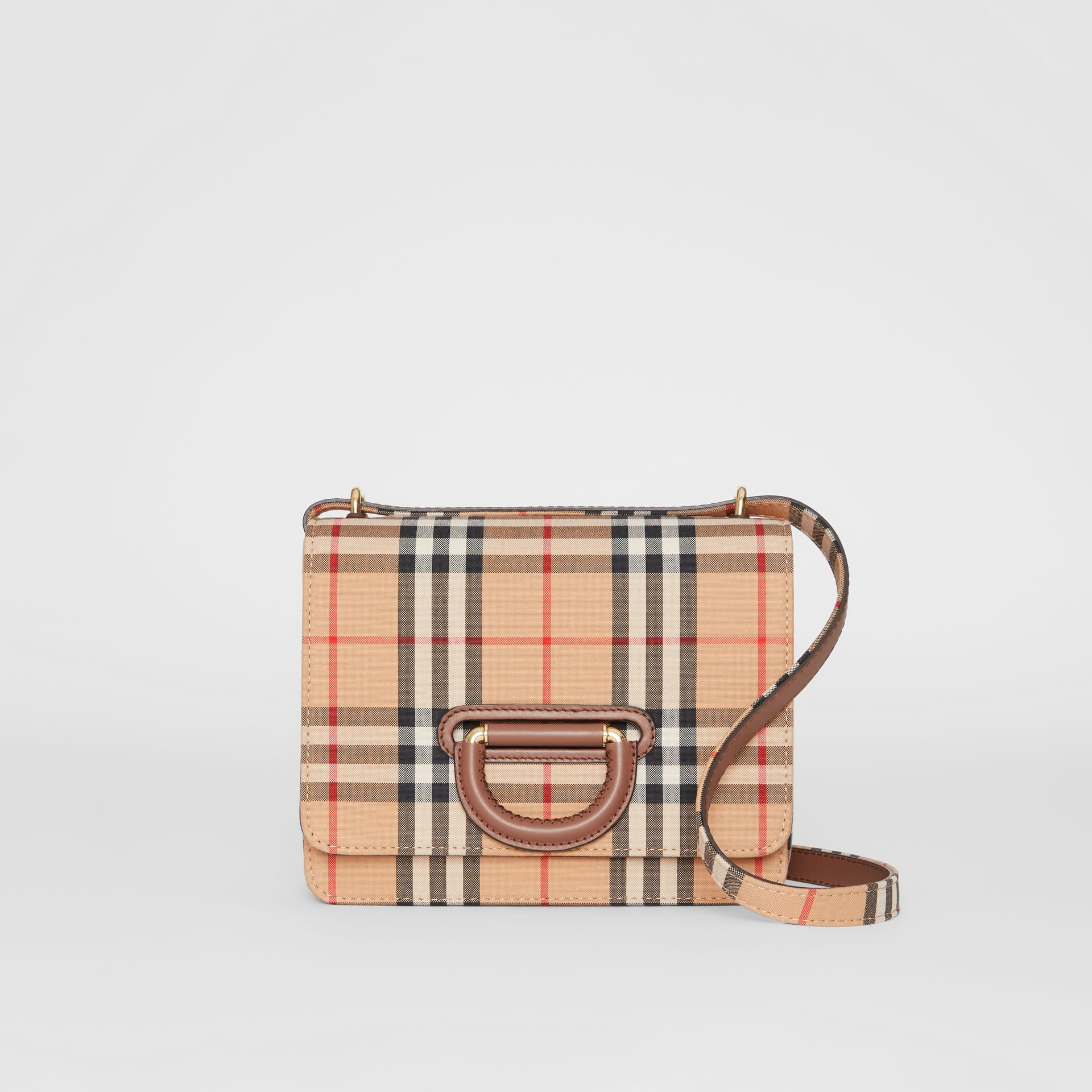 The Small Vintage Check D-ring Bag in Archive Beige - Women | Burberry Australia - gallery image 0