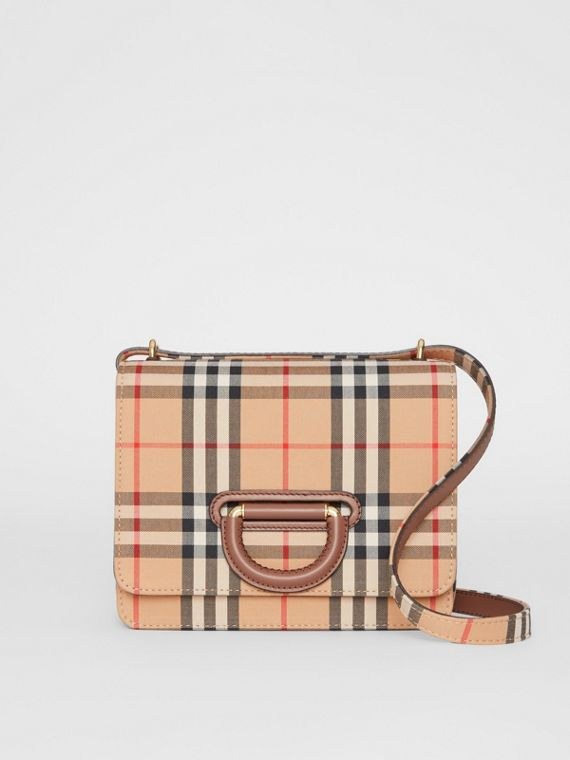 Borsa The D-ring piccola con motivo Vintage check (Beige Archivio)