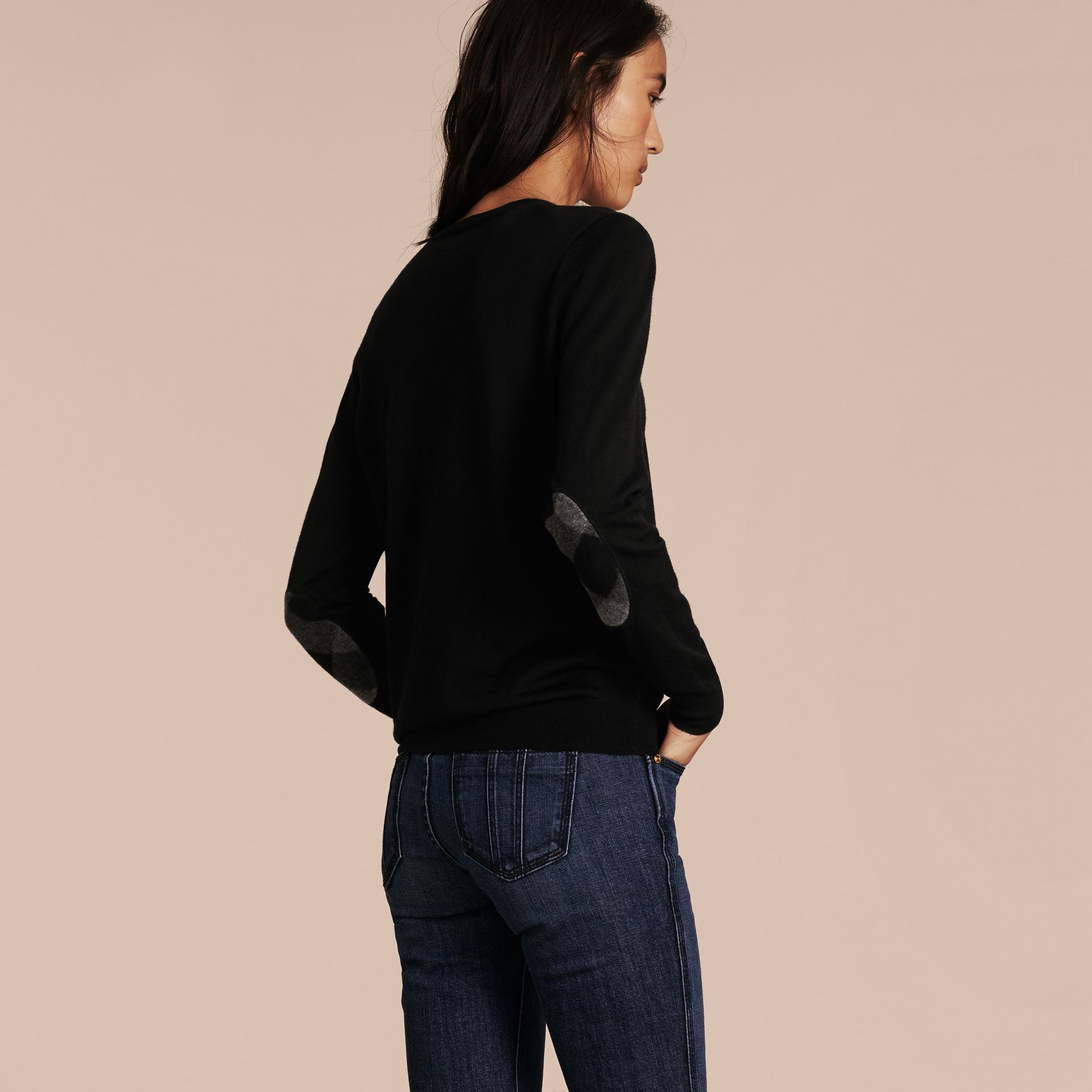 Check Detail Merino Wool Crew Neck Sweater in Black - gallery image 3