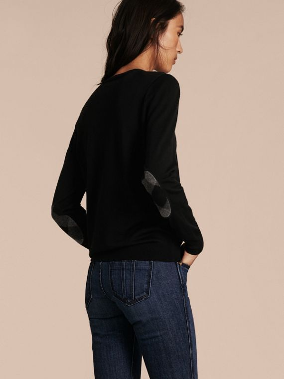 Check Detail Merino Wool Crew Neck Sweater in Black - Women | Burberry - cell image 2