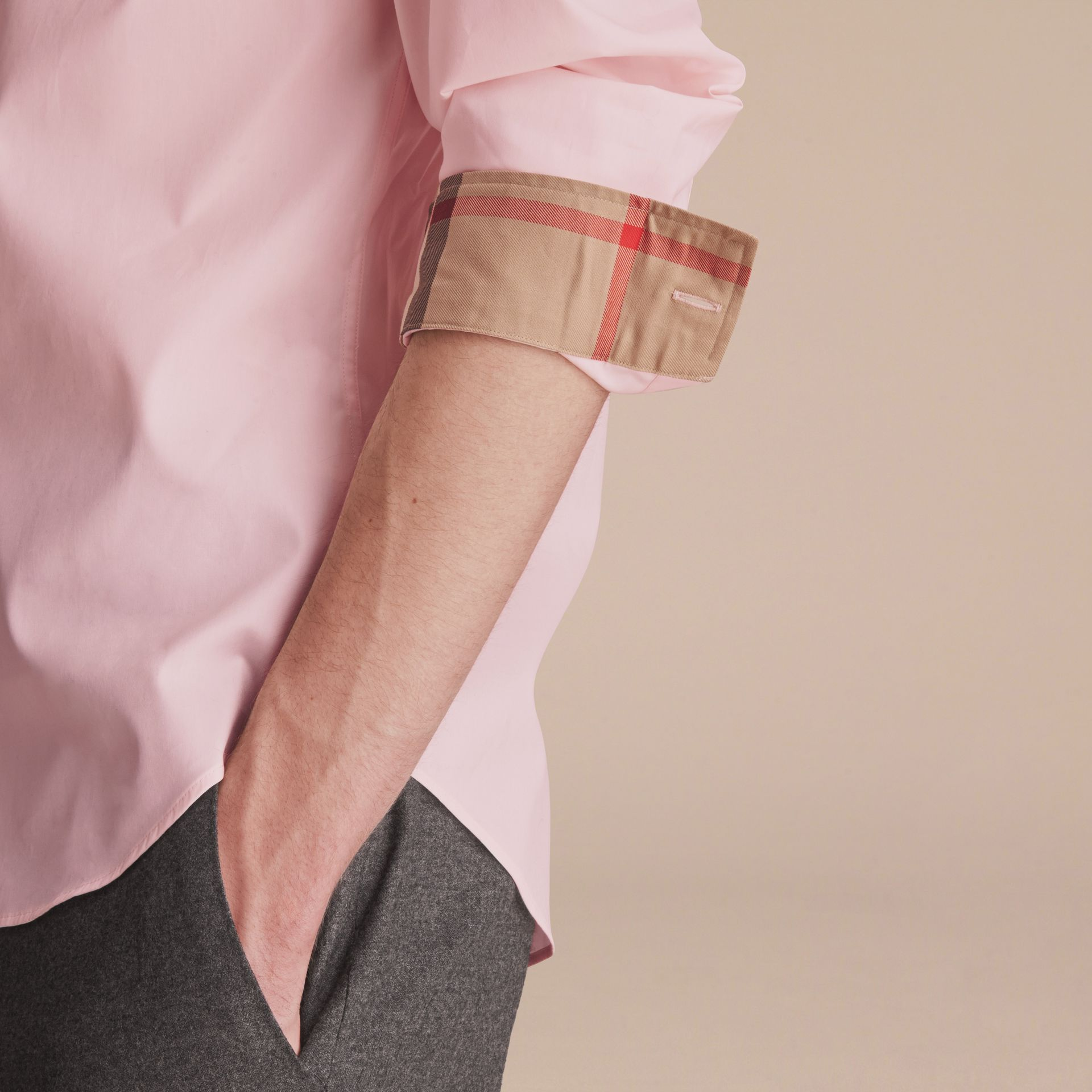 Check Detail Stretch Cotton Poplin Shirt in Pale Pink - Men | Burberry - gallery image 5