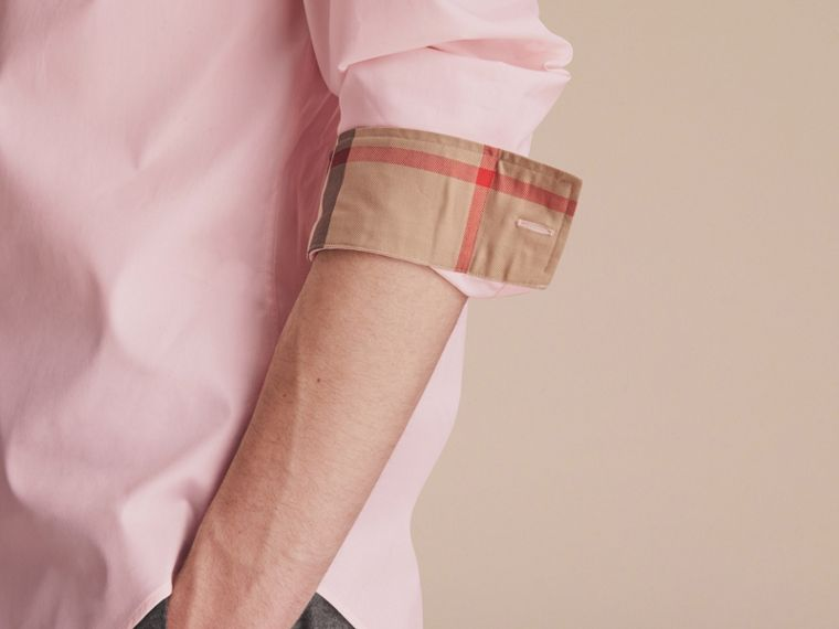 Check Detail Stretch Cotton Poplin Shirt in Pale Pink - Men | Burberry Hong Kong - cell image 4