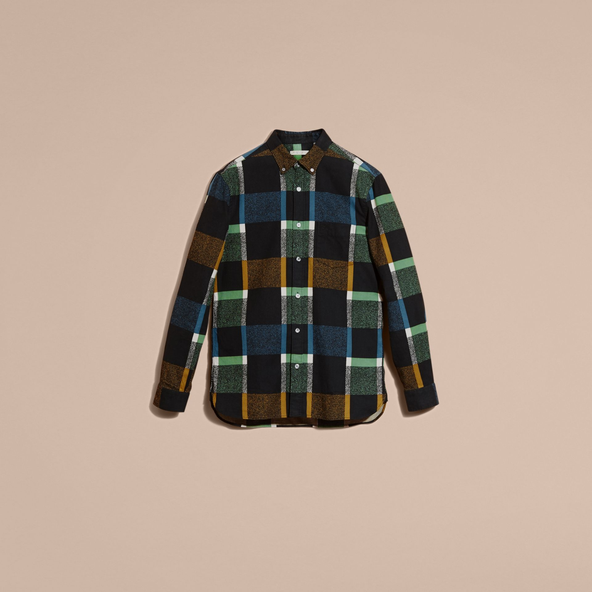 Racing green Check Print Cotton Blend Shirt - gallery image 4