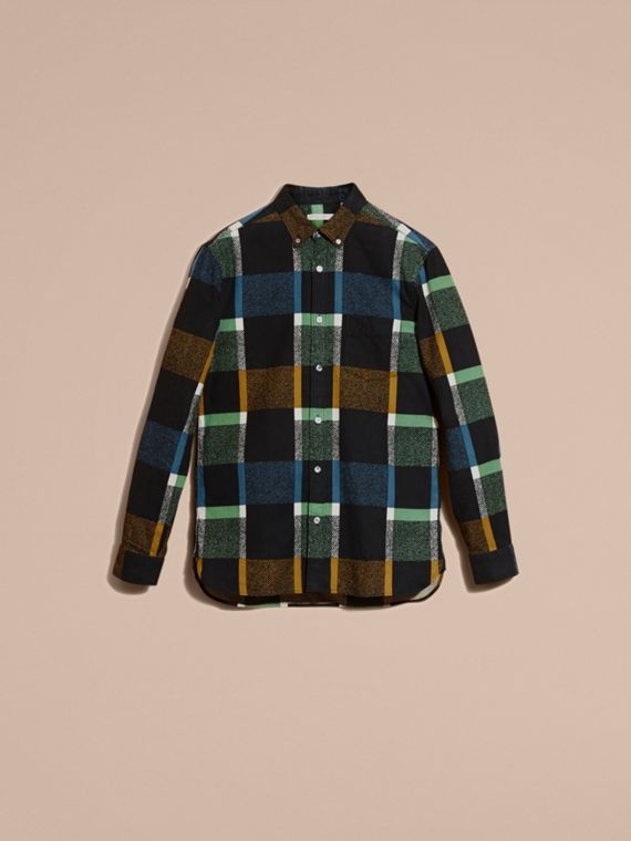 Racing green Check Print Cotton Blend Shirt - cell image 3