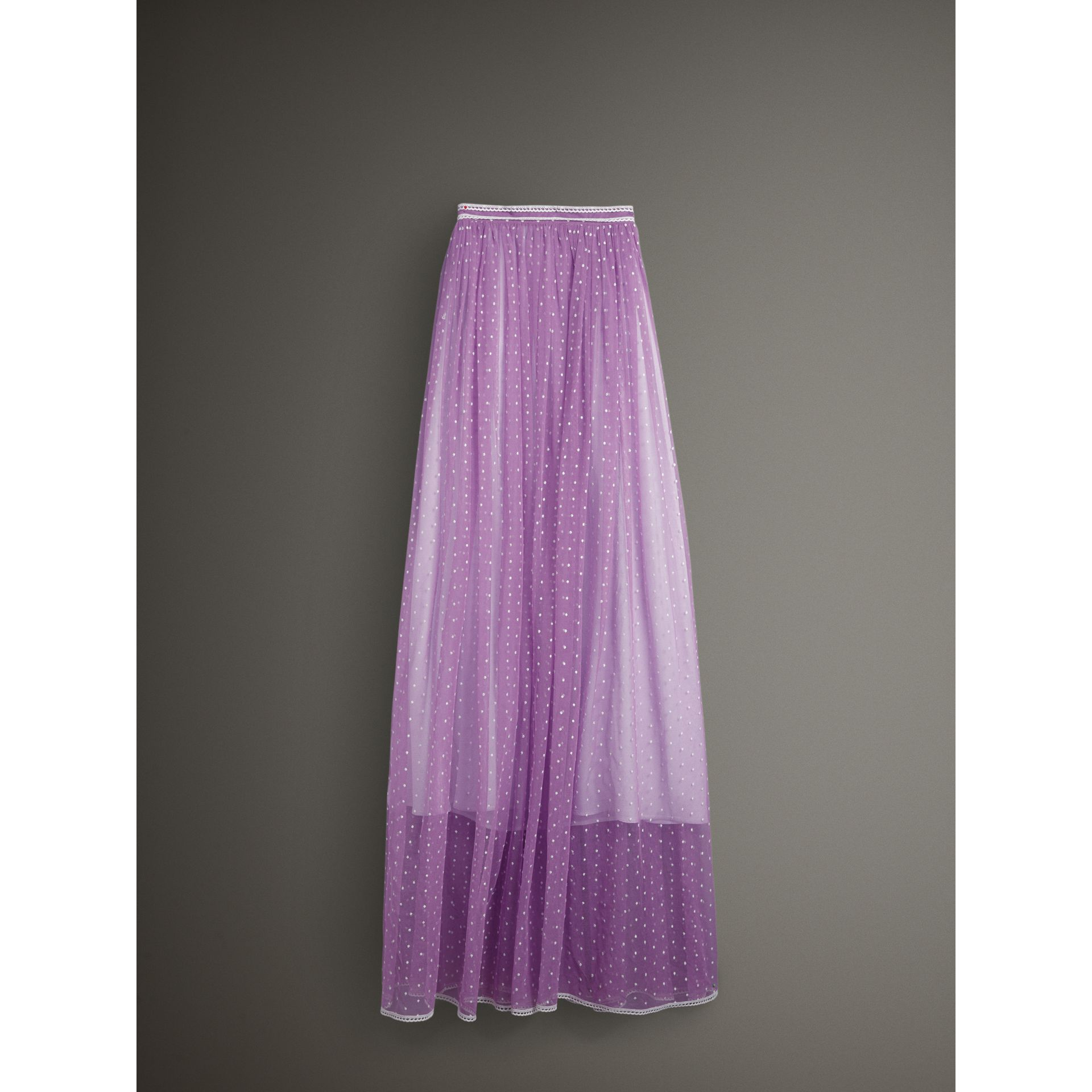 Floor-length Flocked Cotton Tulle Skirt in Lilac/white - Women | Burberry - gallery image 3