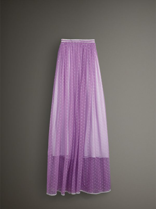 Floor-length Flocked Cotton Tulle Skirt in Lilac/white - Women | Burberry - cell image 3