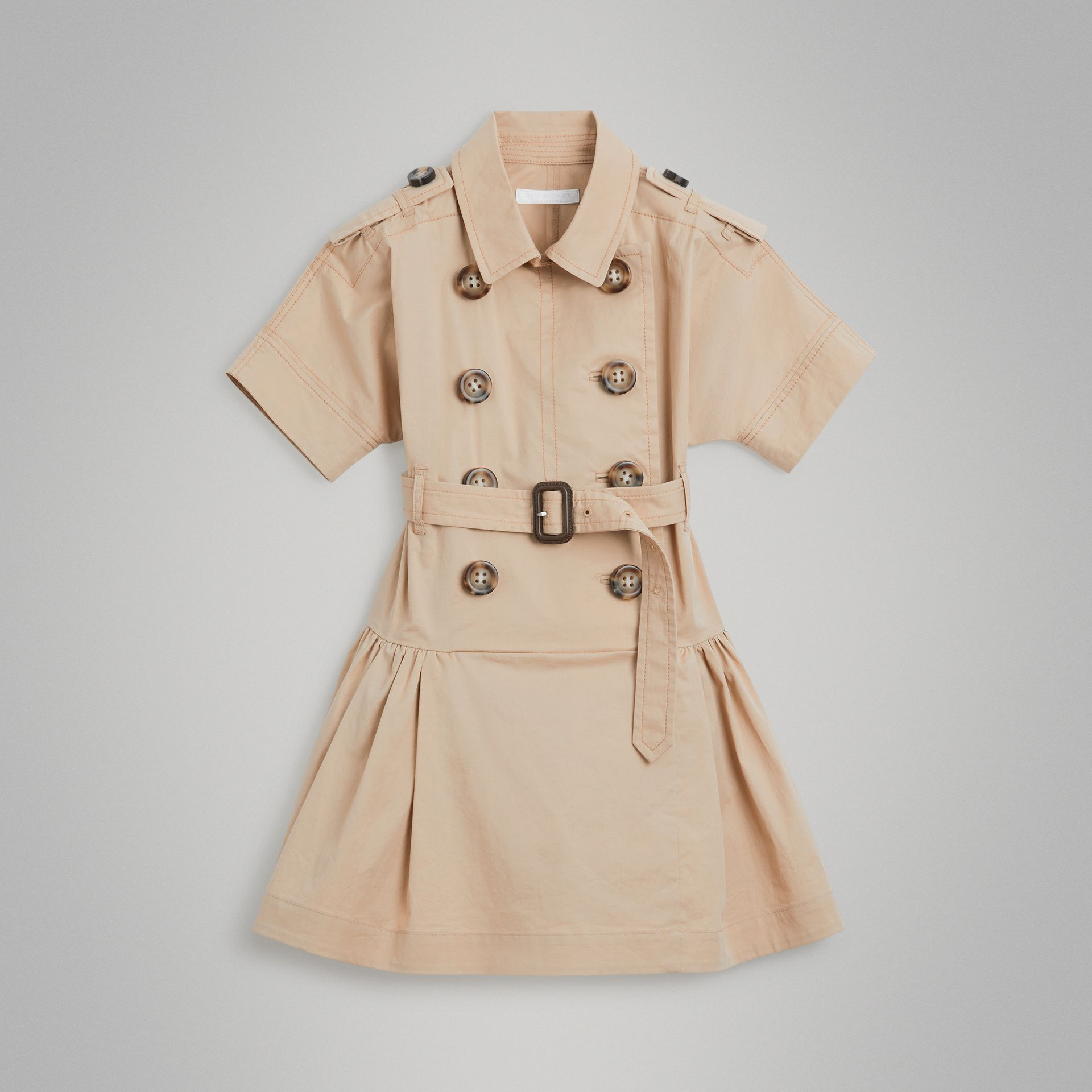 Stretch Cotton Trench Dress in Honey | Burberry Canada - gallery image 0