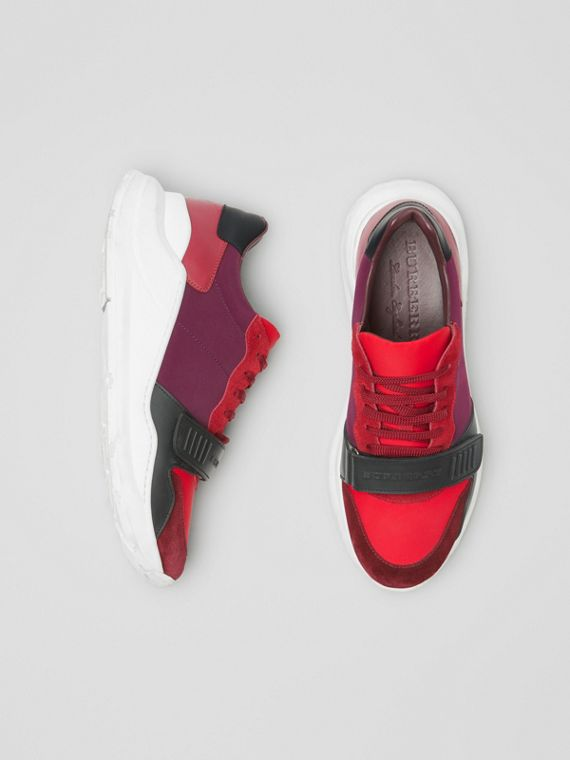 Suede, Neoprene and Leather Sneakers in Bordeaux