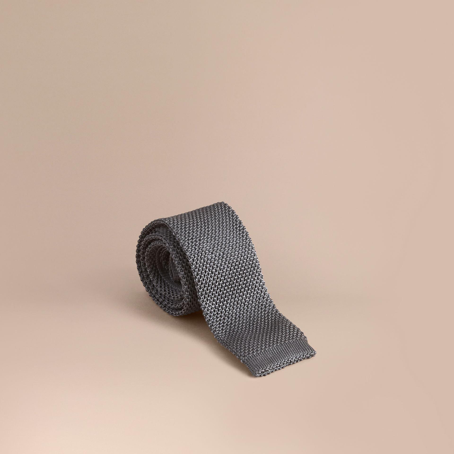 Slim Cut Knitted Silk Tie Mid Grey - gallery image 1