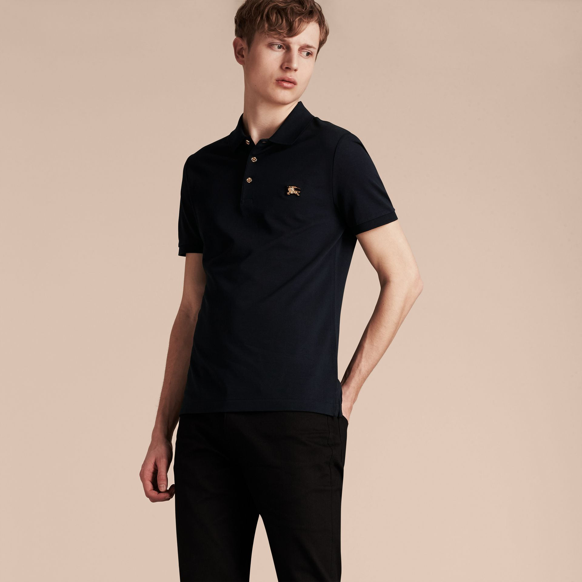 Navy Fitted Mercerised Cotton-Piqué Polo Shirt Navy - gallery image 5
