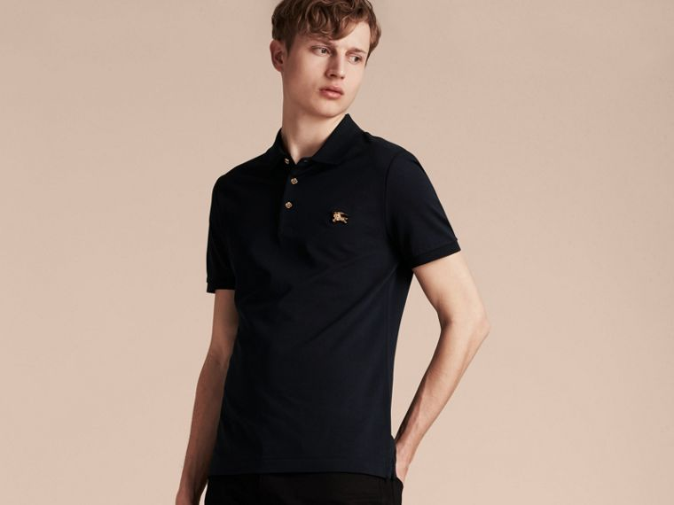 Navy Fitted Mercerised Cotton-Piqué Polo Shirt Navy - cell image 4