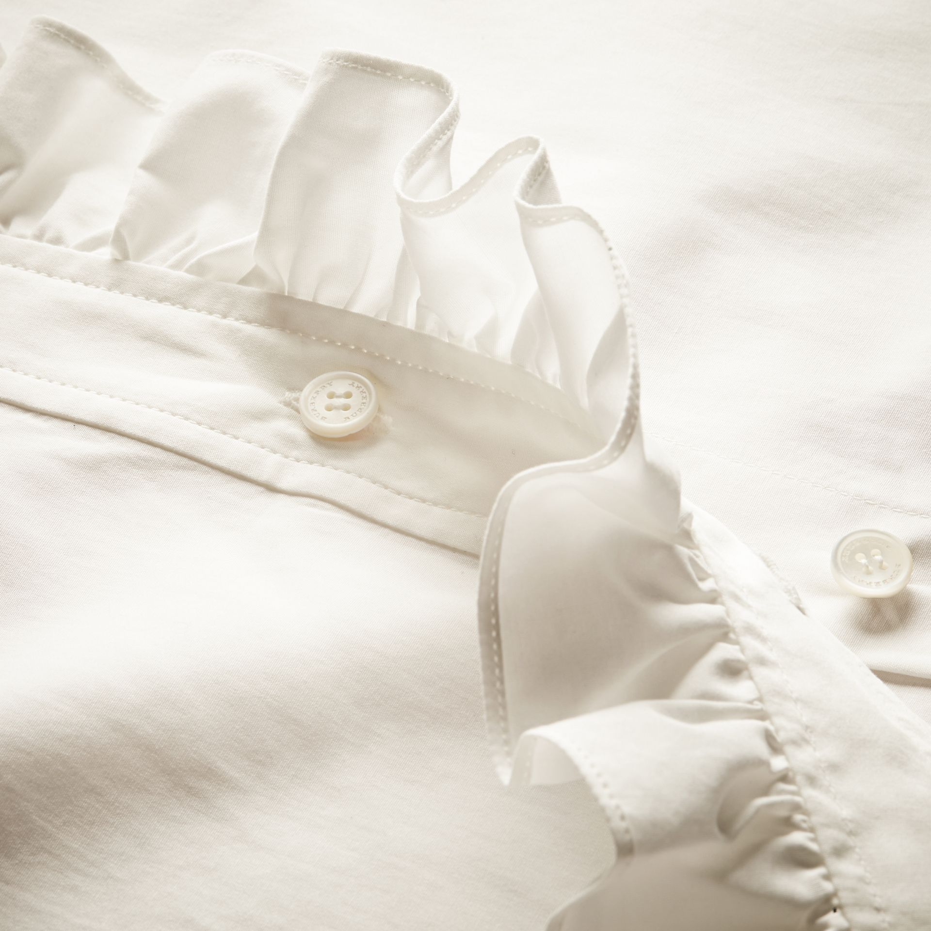 White Cotton Shirt with Ruffles - gallery image 2