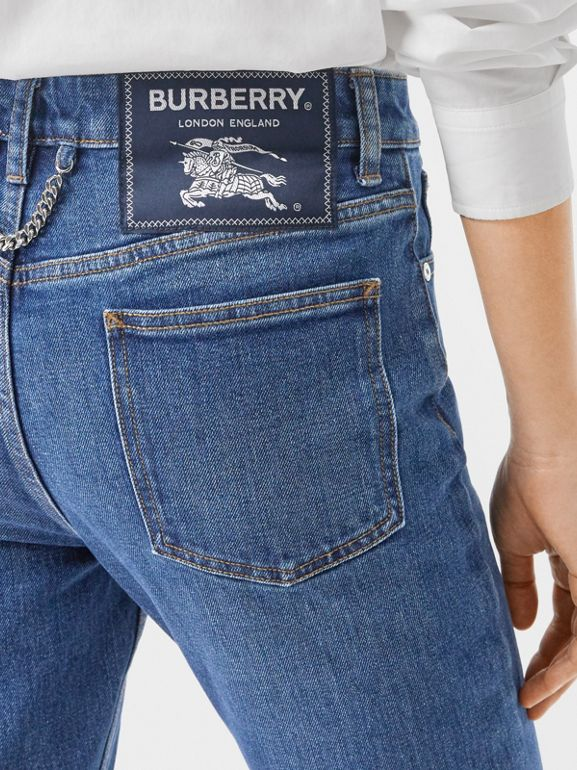 Straight Fit Japanese Stretch Denim Jeans in Indigo - Women | Burberry - cell image 1