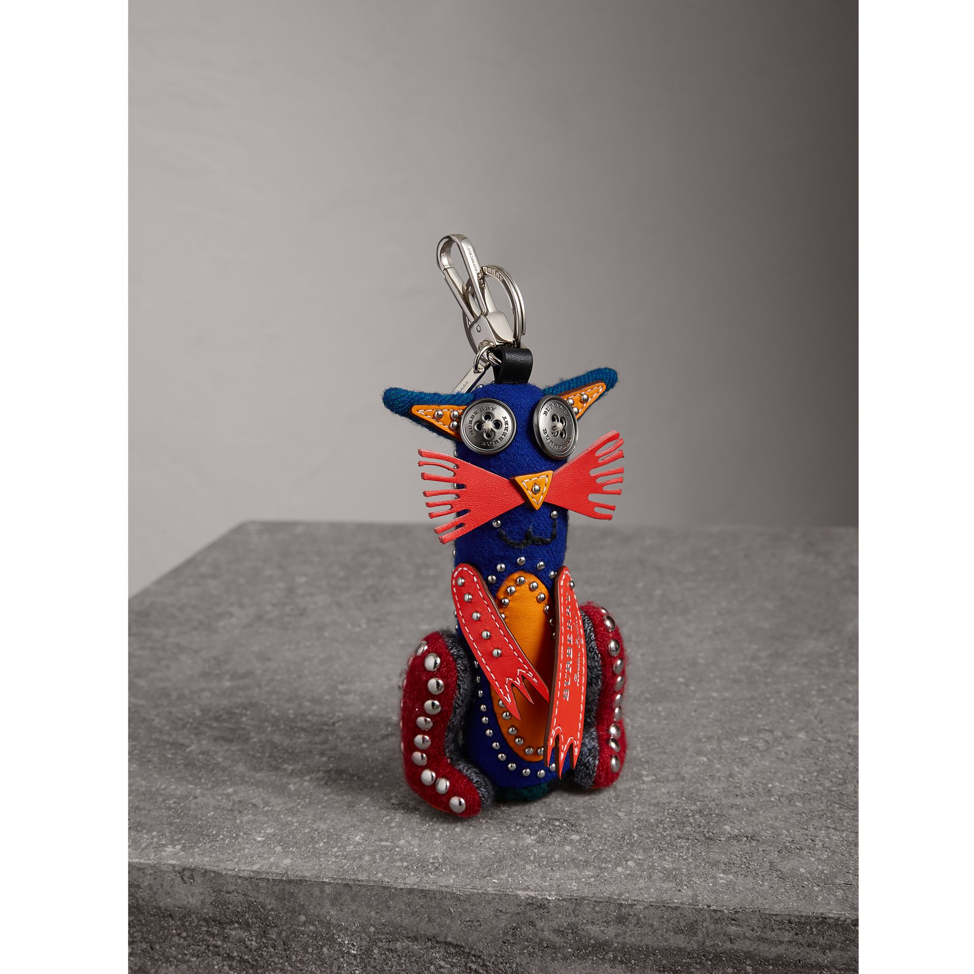 Rufus The Cat Cashmere Charm in Navy/red | Burberry United Kingdom - gallery image 1