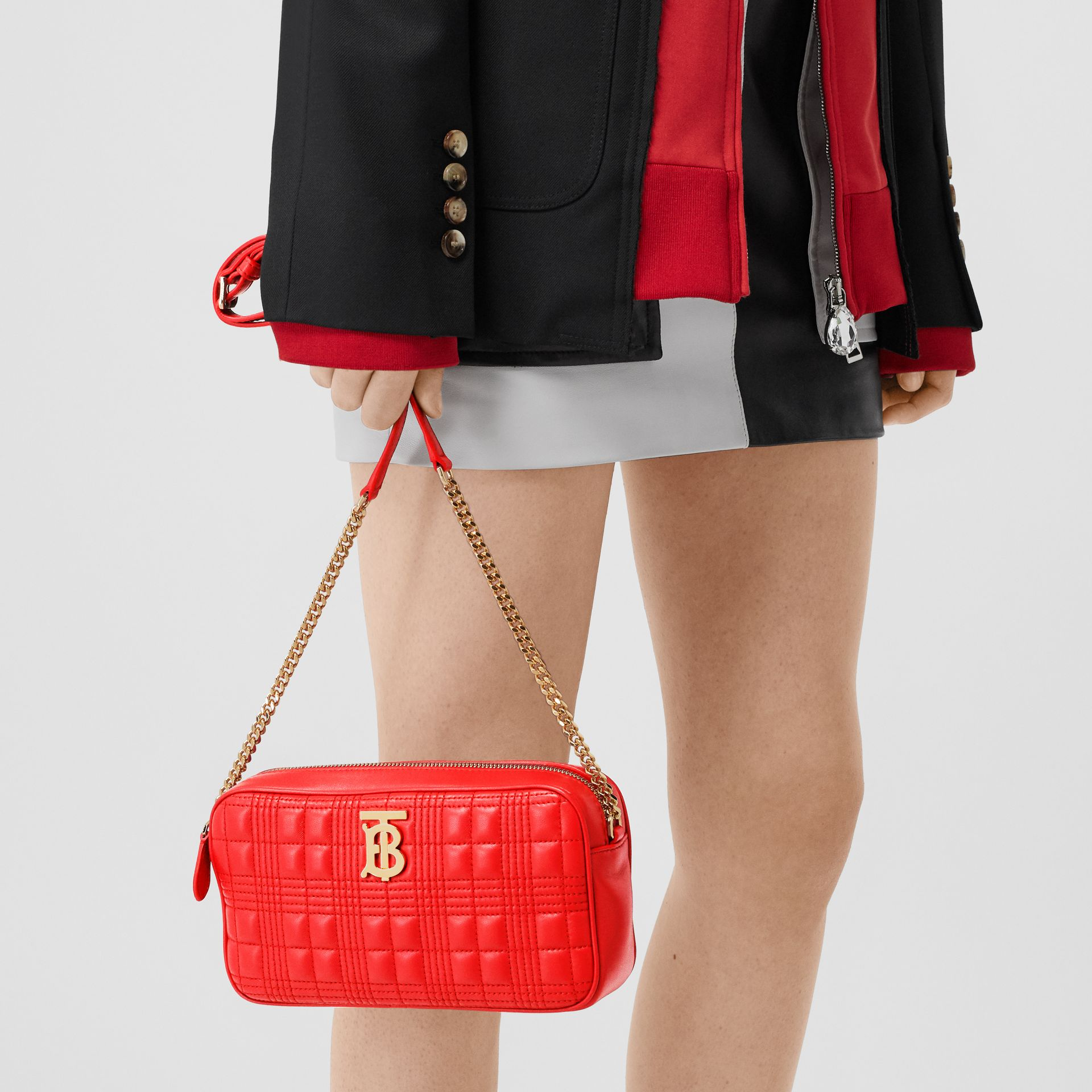 Quilted Lambskin Camera Bag in Bright Red - Women | Burberry - gallery image 8
