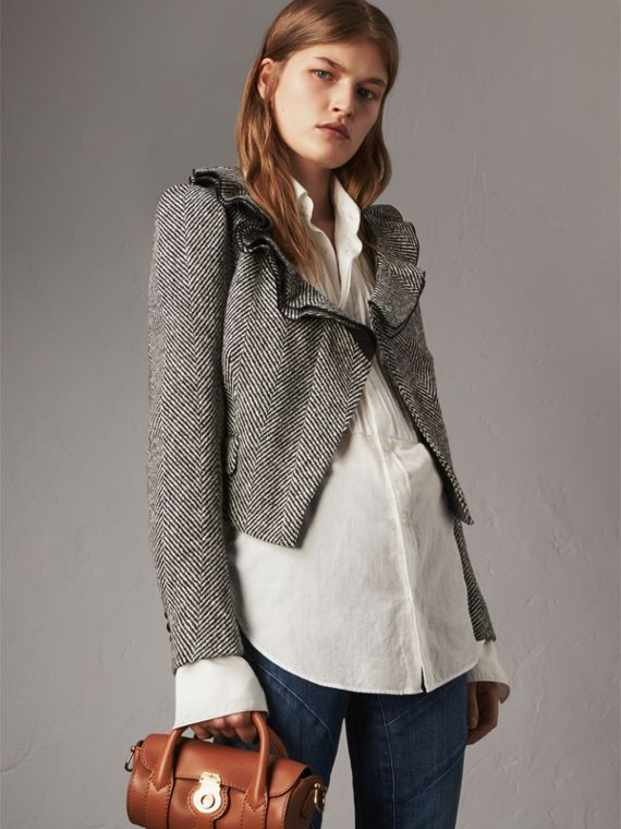 Ruffle Collar Donegal Herringbone Wool Jacket - Women | Burberry
