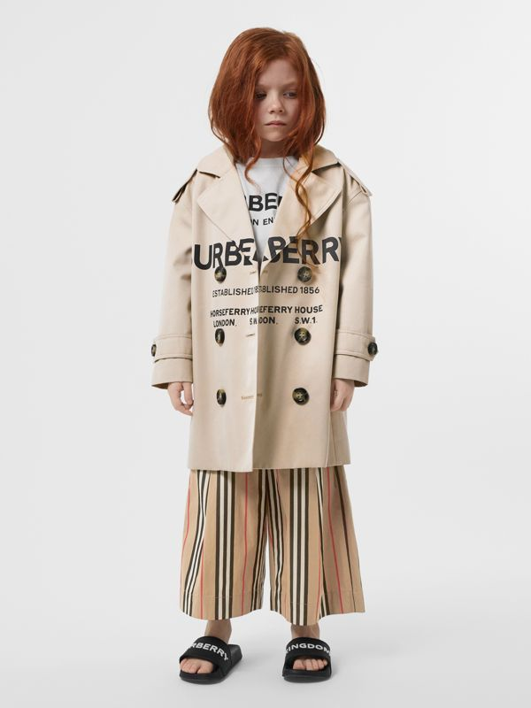 Horseferry Print Cotton Gabardine Trench Coat in Stone | Burberry Singapore - cell image 2