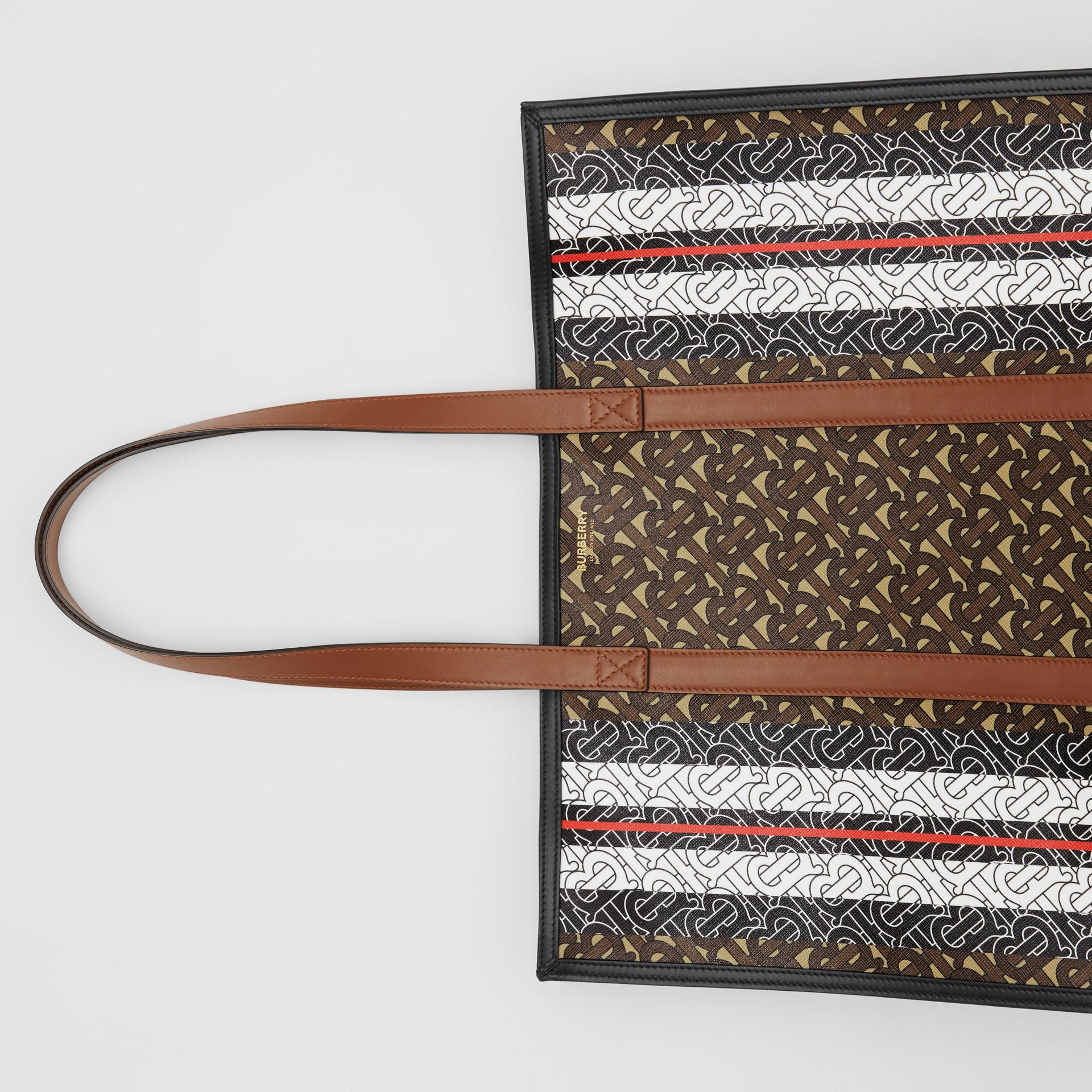 Monogram Stripe E-canvas Tote Bag in Bridle Brown | Burberry United Kingdom - gallery image 10
