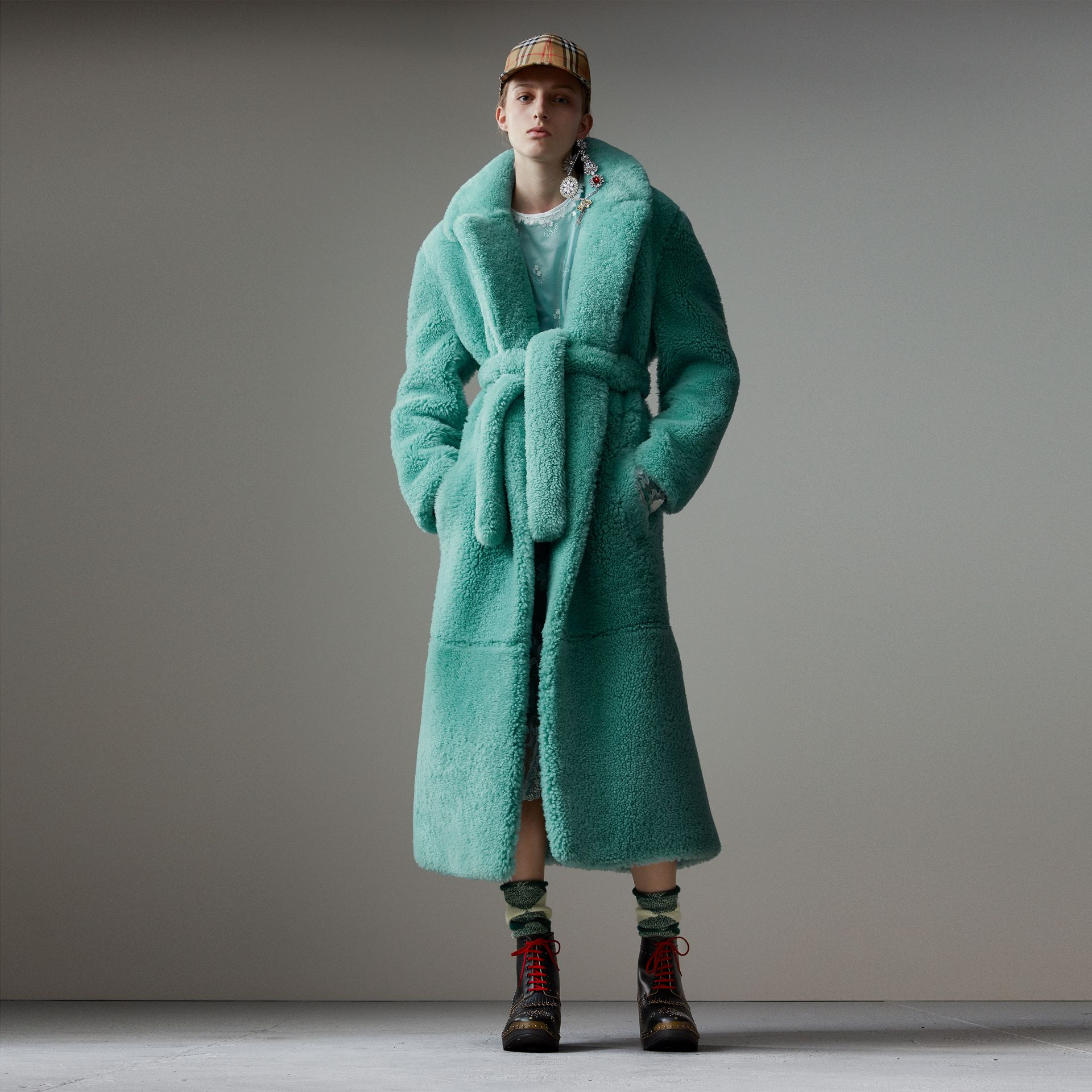 Shearling Oversized Coat in Turquoise - Women | Burberry - gallery image 0