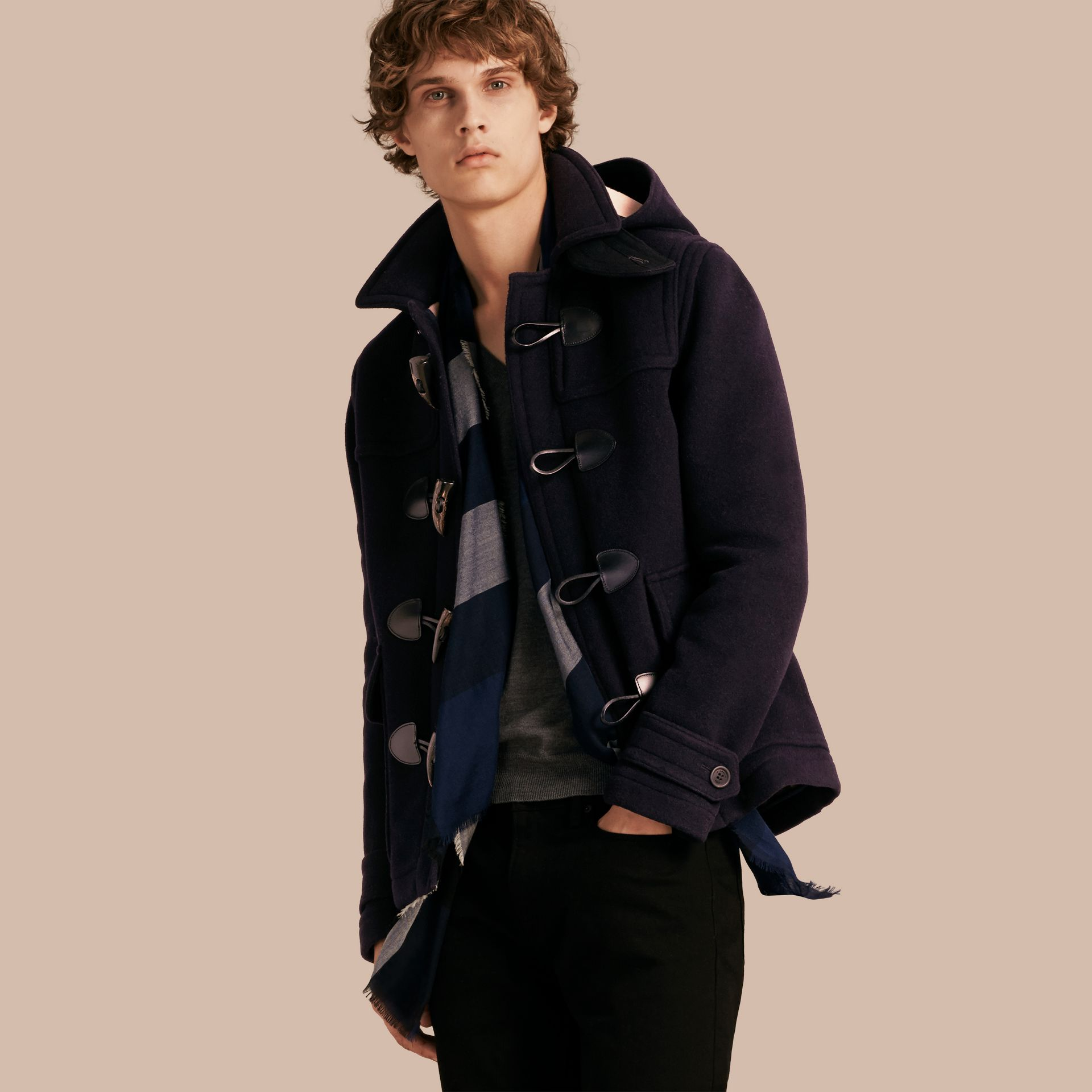 Navy Wool Duffle Jacket with Detachable Hood - gallery image 1