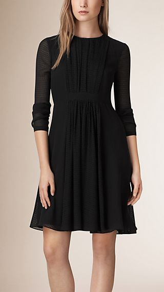 Textured Silk Crepe Dress