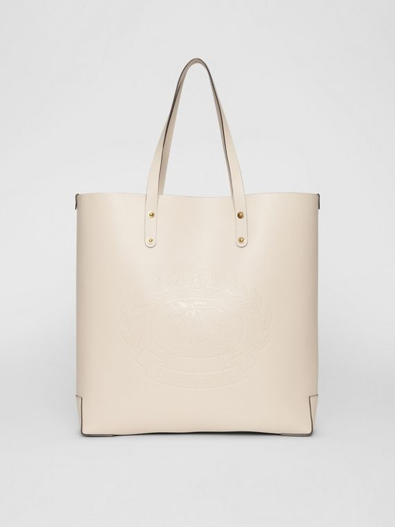 Embossed Crest Leather Tote in Limestone