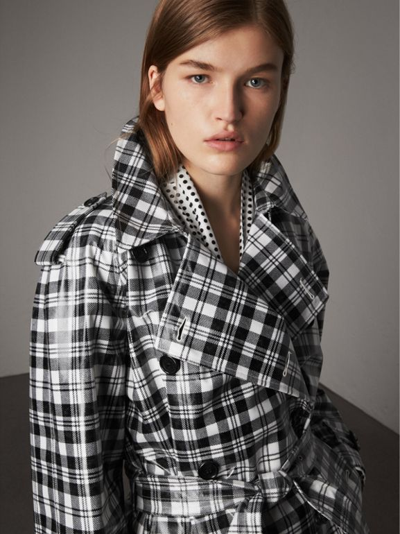 Laminated Tartan Wool Trench Coat in Black/white - Women | Burberry - cell image 1