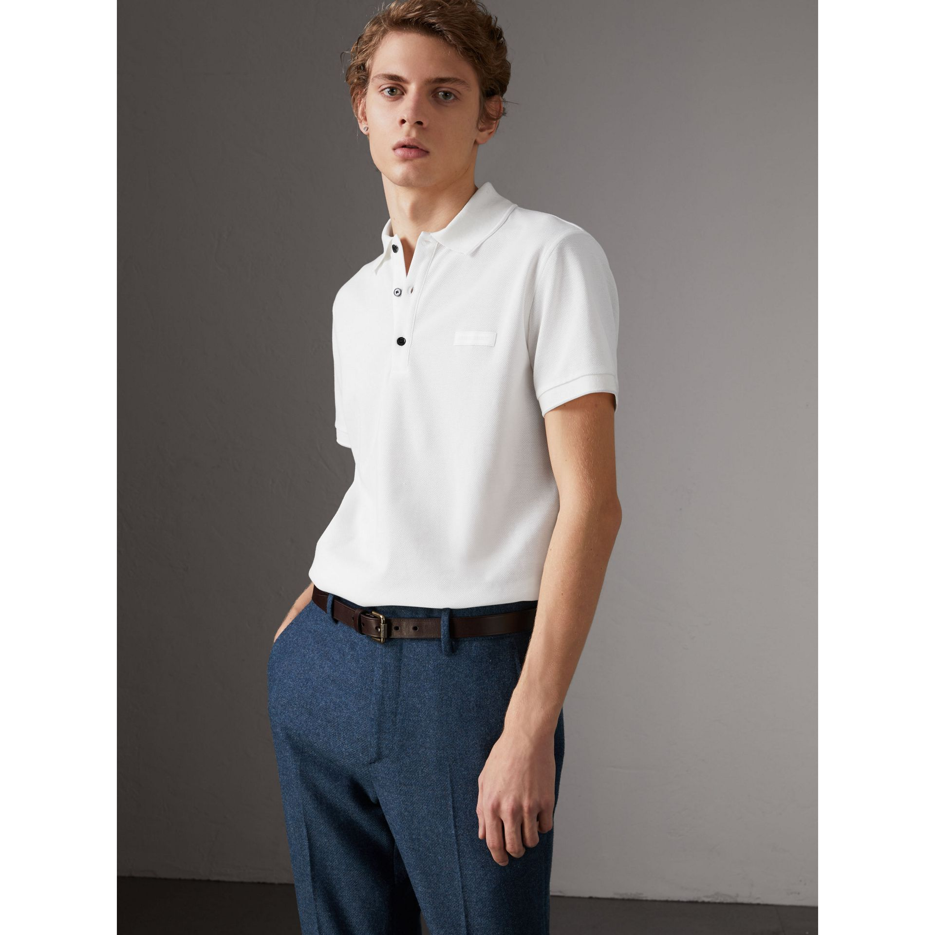 Cotton Piqué Polo Shirt in White - Men | Burberry Canada - gallery image 0