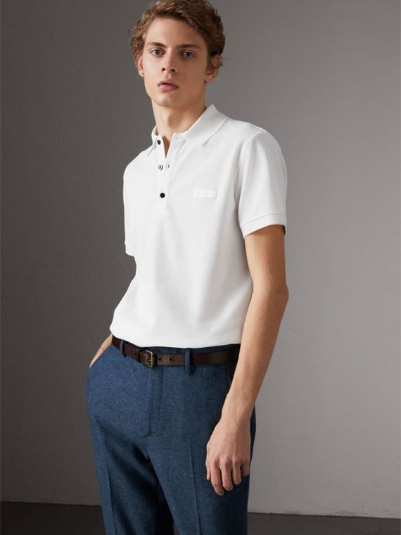 Polo in cotone piqué (Bianco)