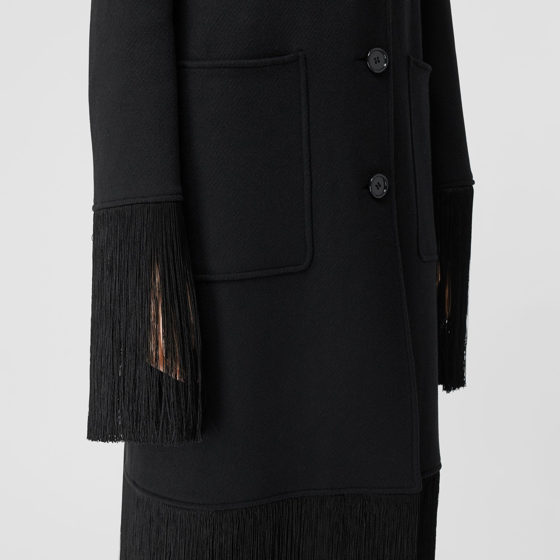 Fringed Double-faced Wool Cashmere Car Coat in Black - Women | Burberry United Kingdom - gallery image 4