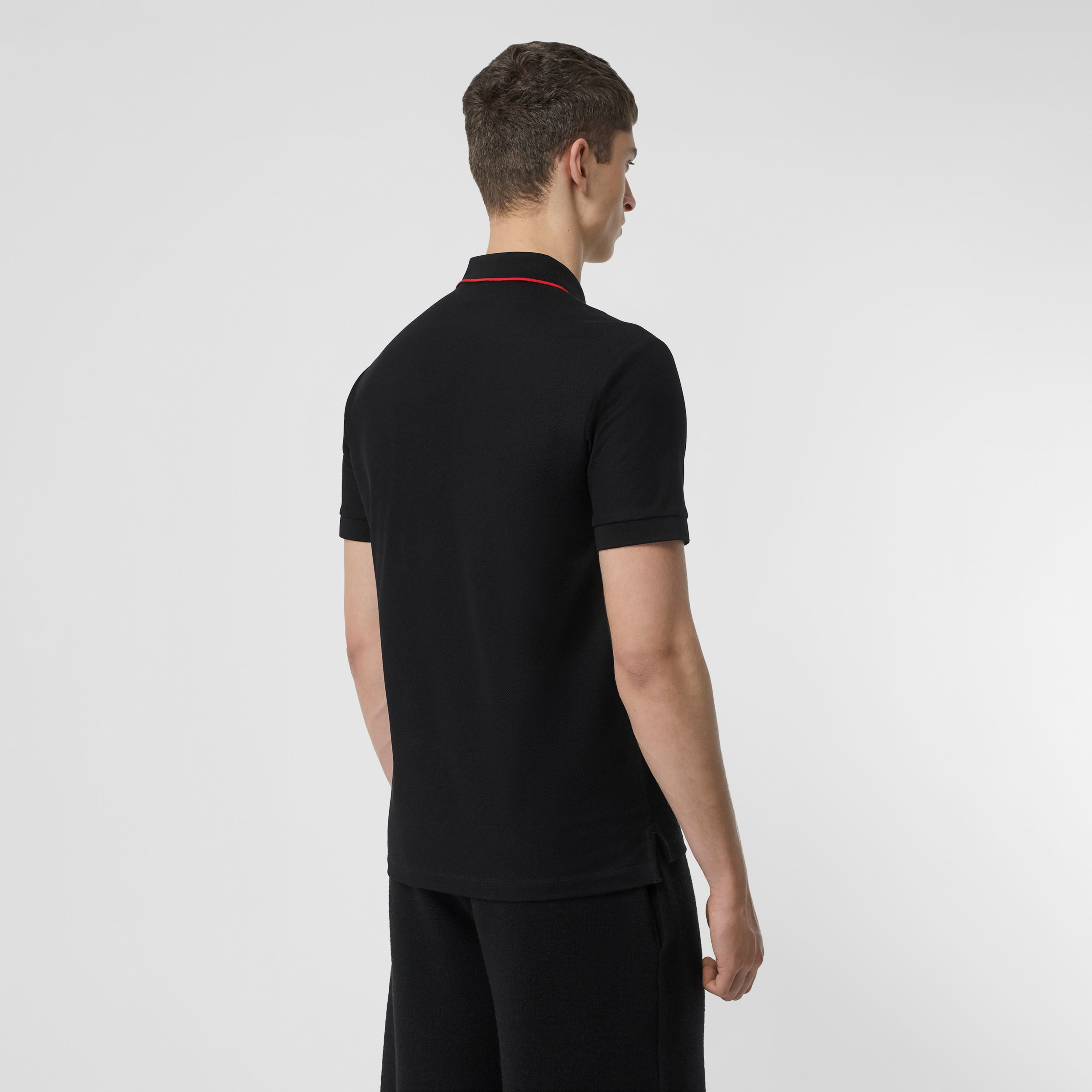 Icon Stripe Placket Cotton Piqué Polo Shirt in Black - Men | Burberry - 3