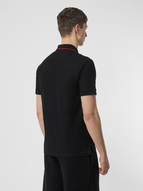 Icon Stripe Placket Cotton Piqué Polo Shirt in Black - Men | Burberry - cell image 2