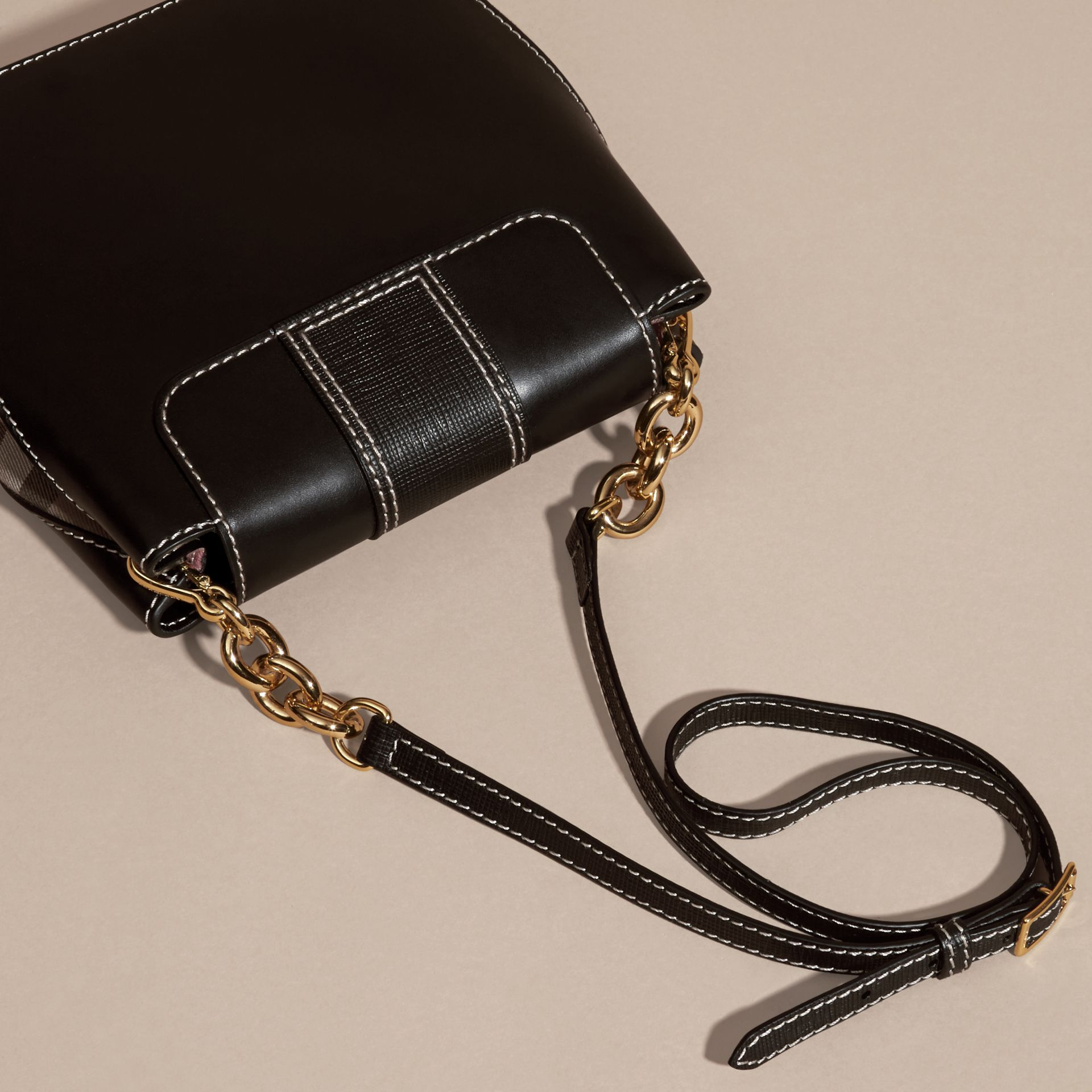 Black The Medium Buckle Bag – Square in Leather and House Check - gallery image 4