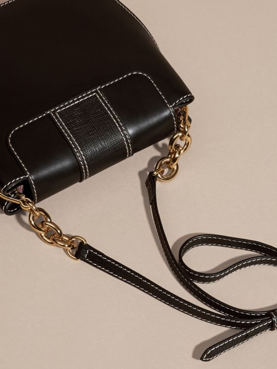 Black The Medium Buckle Bag – Square in Leather and House Check - cell image 3