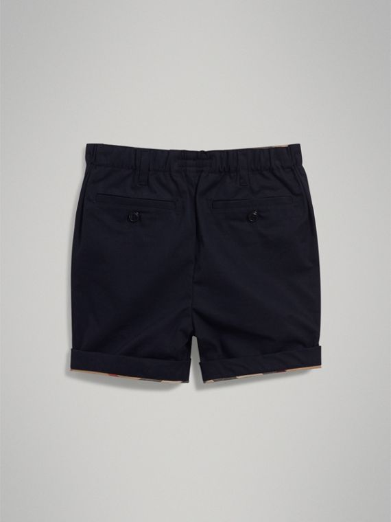 Check Detail Cotton Chino Shorts in Ink - Boy | Burberry United Kingdom - cell image 3