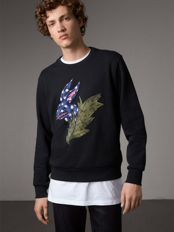 Beasts Motif Cotton Sweatshirt in Black