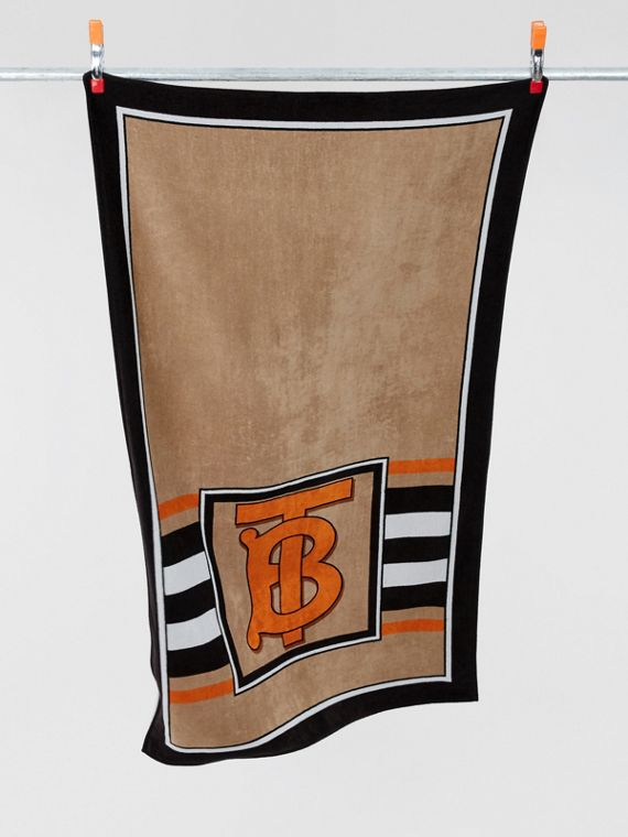 Monogram and Icon Stripe Print Cotton Towel in Archive Beige
