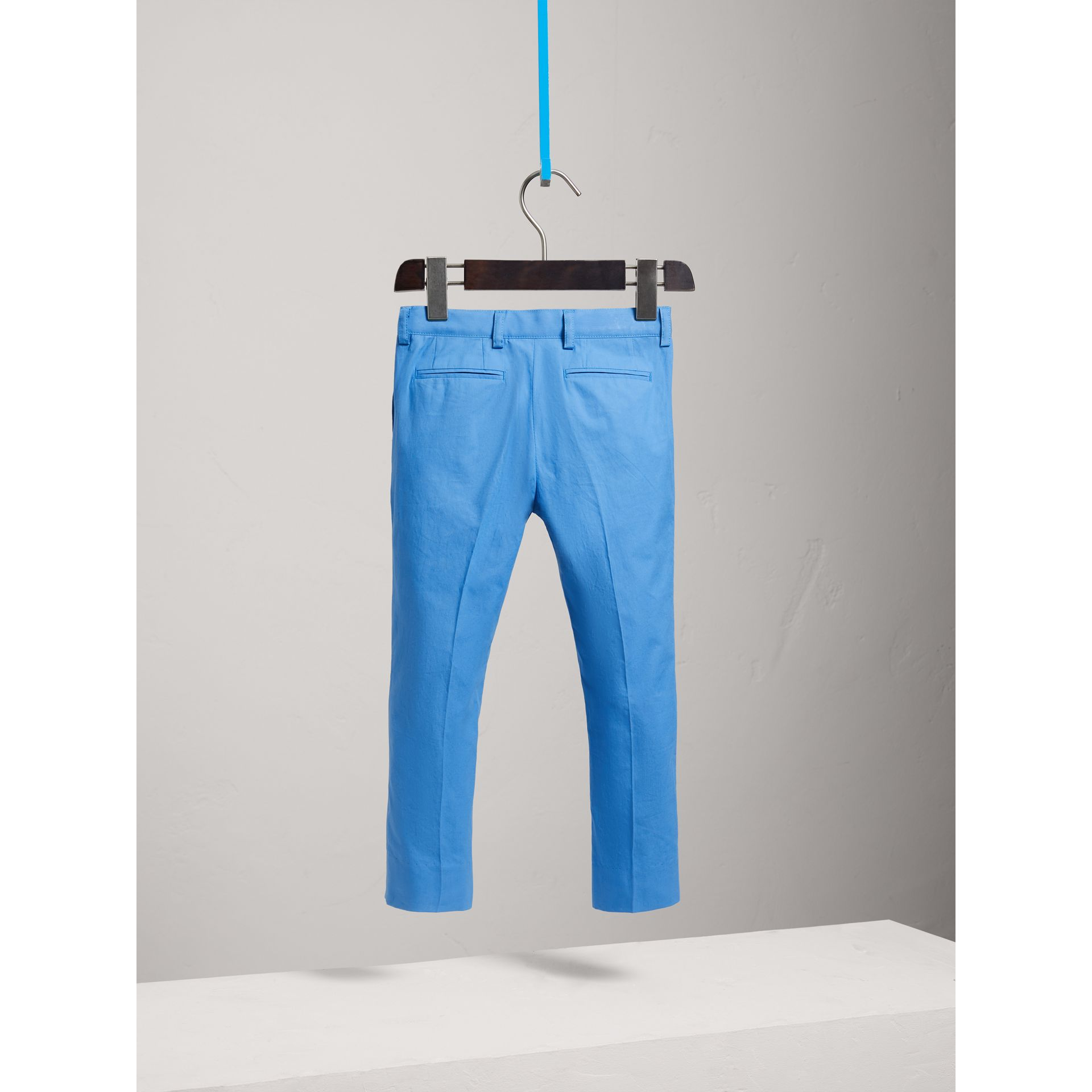 Cotton Poplin Tailored Trousers in Azure Blue - Boy | Burberry - gallery image 3