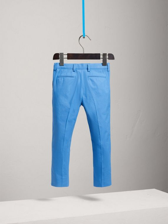 Cotton Poplin Tailored Trousers in Azure Blue - Boy | Burberry - cell image 3