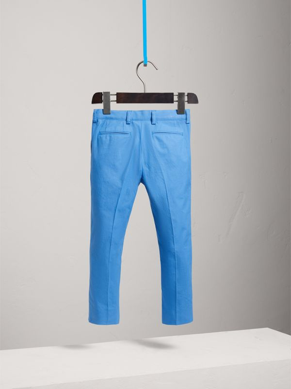 Cotton Poplin Tailored Trousers in Azure Blue - Children | Burberry - cell image 3